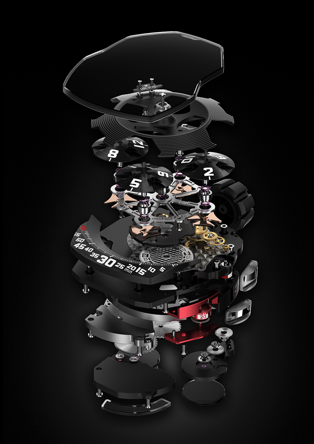 Exploded view of the movement: Caliber UR5.01 with 38 jewels, beating at 28,800 bph and a power reserve of 42 hours.