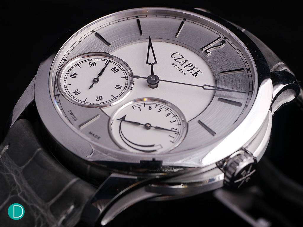 Czapek & Cie Quai des Bergues in Stainless Steel, solid silver dial and blued steel hands.