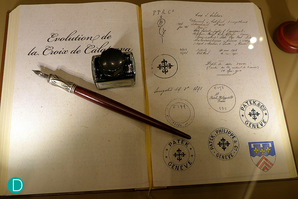 The private room has an ante room connecting to the main entrance lobby area. This can be used also as an exhibition area, where pieces from the Patek Philippe Museum can be showcased. Here is a manuscript detailing the evolution of the Calatrava Cross used as the logo.