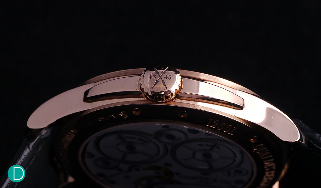 The case side of the Czapek No 33 showing the crown and the crown guard.