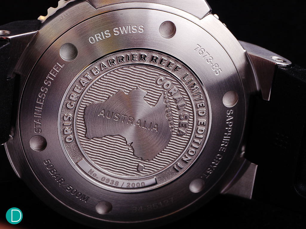 "The caseback of the Oris Great Barrier Reef II shows the map of Australia with the reef identified off the coast of Queensland and marked ""Coral Sea"". The limited edition serial number is also found on the case back."