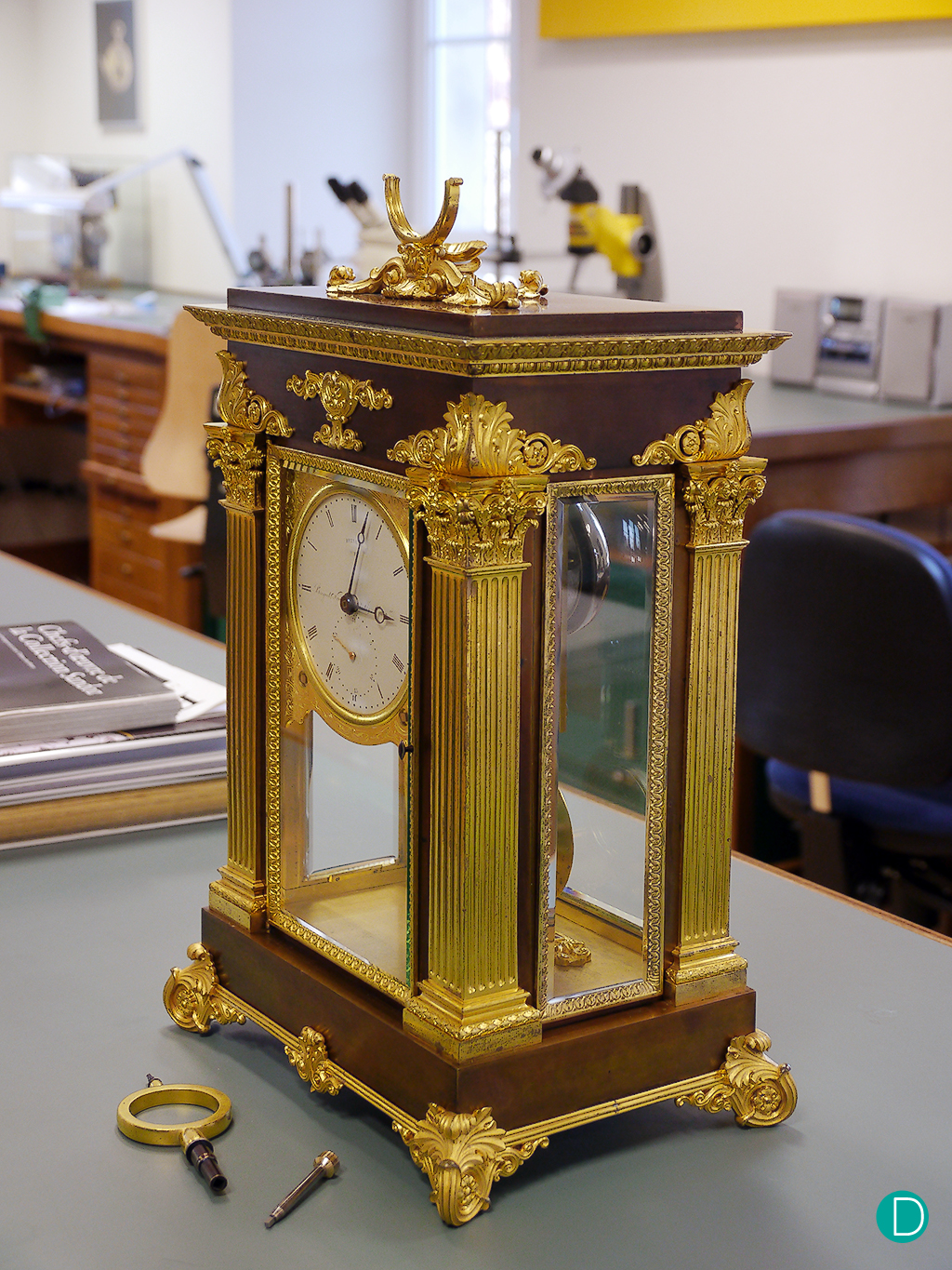 The Breguet Symphatique, just completed its restoration, and undergoing testing. The pocket watch has been removed in this photograph.