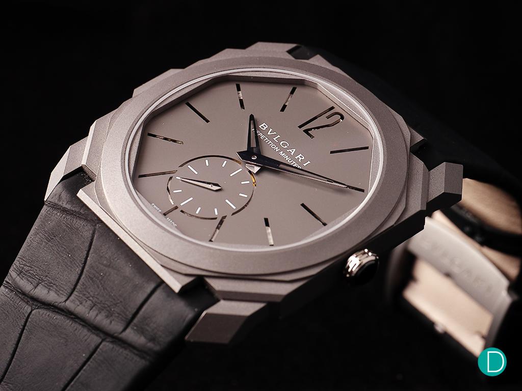 Bulgari Octo Finissimo Répétition Minute. Titanium case, pierced titanium dial. Limited edition 50 pieces.