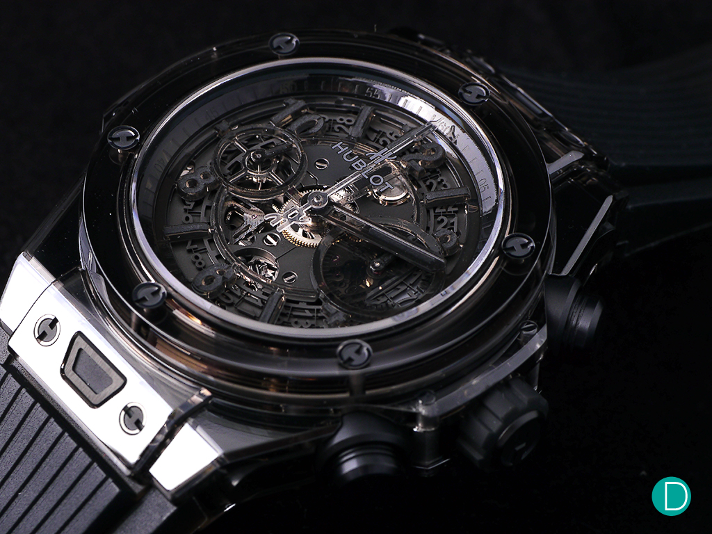 The watch is cased entirely in sapphire crystal less for the integral parts like the screws that are titanium.