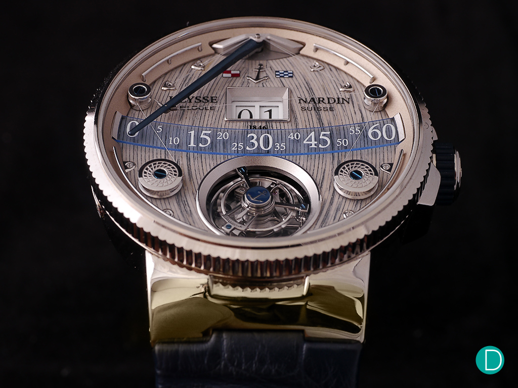 The UN Grand Deck Marine Tourbillon looks like no other watch in existance. The massive boom arm is the retrograde minute hand, a large double digit jumping hour occupies and shares center stage with the tourbillon.