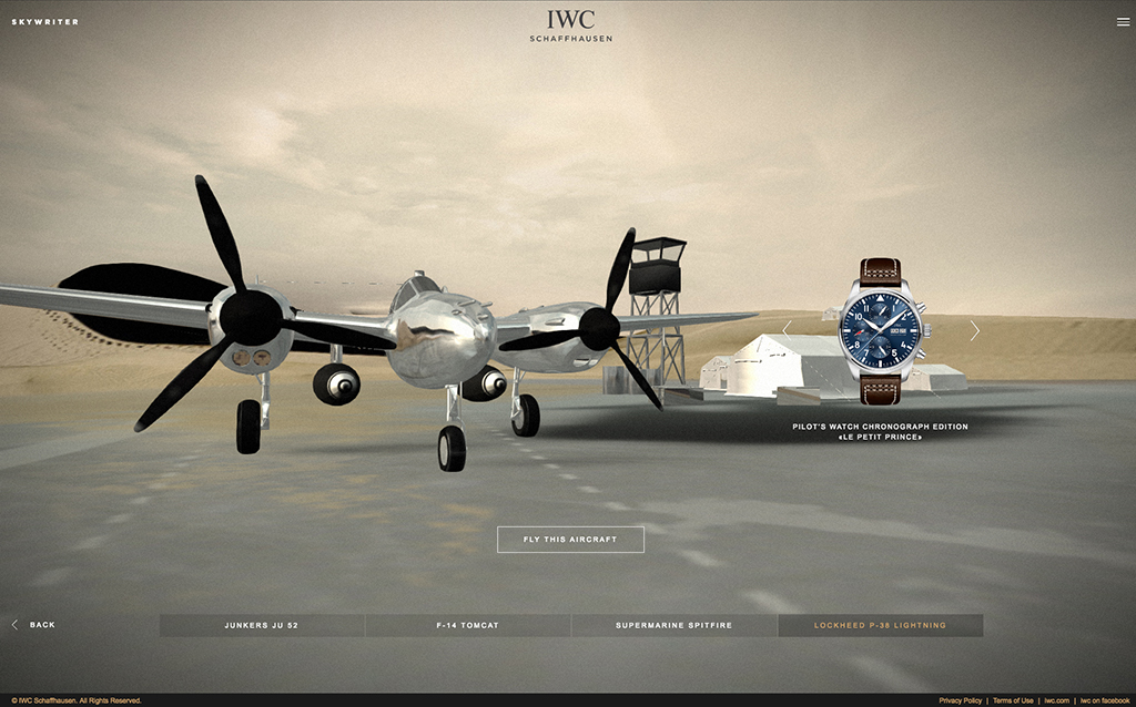 The Lockheed P-38 Lightning's screen if one chooses this aircraft. The suggested IWC watch is displayed on the right.