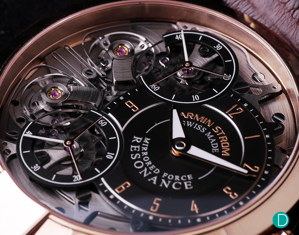 The exposed dial showing the dial ring for the hour minutes, offset as a sub-idial, and the two second hands dials.